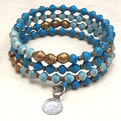 East African Infinity Wrap Bracelet - Blue