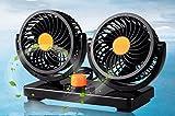 GookeyDirect®360°回転 24V 車内 シガー 車載扇風機 自動車用 風量2段切れ替え 卓上扇風機 小型 シガーライター扇風機 車載用 扇風機 24V回転ファン電源ケーブル2m ツインファン