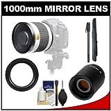 Samyang 500mm f/6.3 Mirror Lens (White) with 2x Teleconverter (=1000mm) + Monopod Kit for Sony Alpha DSLR SLT-A35 A37 A55 A57 A65 A77 Digital SLR Cameras