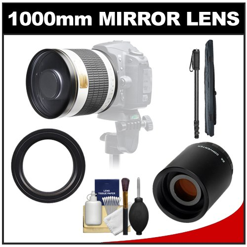 Samyang 500Mm F/6.3 Mirror Lens (White) With 2X Teleconverter (=1000Mm) + Monopod Kit For Canon Eos 60D, 7D, 5D Mark Ii Iii, Rebel T3, T3I, T4I Digital Slr Cameras