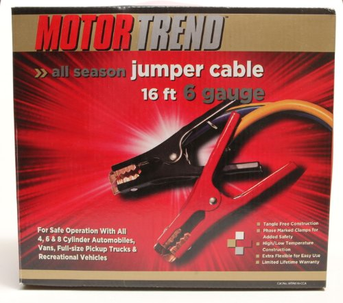 Motor Trend MTA616-CCA 16-Foot Jumper Cables with Extended Clamps, 500-AMP