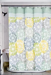 shower curtain yellow blue green gray floral design home kitchen