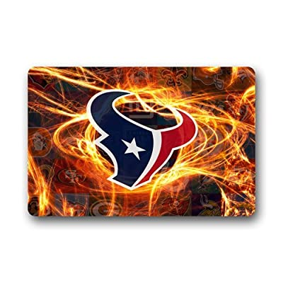 LaHuo NFL Houston Texans Logo Custom Design Doormats Outdoor Indoor Stairs Bath Front Door Small Rug Machine-Washable Neoprene Rubber Doormat