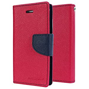 Sparkling Trends Mercury Goospery Fancy Diary Wallet Flip Cover Case for Reliance LYF Flame 4 Red