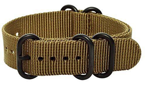 Clockwork Synergy - 5 Ring Heavy NATO PVD BlackWatch Strap Bands (20mm, Desert Tan)