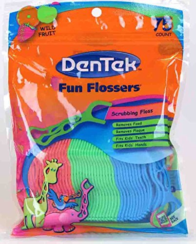 DenTek-Fun-Flossers-for-Kids-Wild-Fruit-Floss-PicksEasy-Grip-for-Kids75-Count