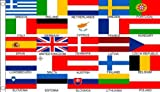 5ft x 3ft (150 x 90 cm) 25 Euro European Nations Countries 100% Polyester Material Flag Banner Ideal For Club School Business Party Decoration Eurovision