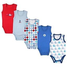 5-Pack Lightweight Sleeveless Bodysuits in Blue, 3-6 months