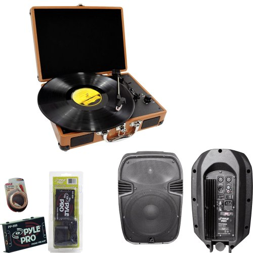 Pyle Turntable Record Player, Pre-Amplifier, Rca Cable And Speaker Package - Pvtt2U Retro Belt-Drive Turntable With Usb-To-Pc Connection, Rechargeable Battery - Pp999 Phono Turntable Pre-Amplifier - Pphp885A 400 Watts 8'' Powered 2 Way Plastic Molded Spea