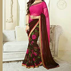 Women's Latest Designer Printed Georgette Saree with Blouse piece By Maahi Fashion (multi color)