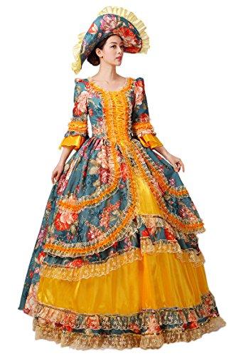 Zukzi Women's Gorgeous Retro Court Dress Costume Beauty Princess Dresses, US 8 (Colonial Gown Costume)
