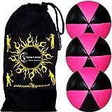 3x Flames N Games ASTRIX UV Thud Juggling Balls set of 3 (Black/UV Pink) Pro 6 Panel Leather Juggling Ball Set & Travel Bag!