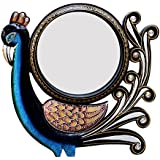Divraya Wood Peacock Wall Mirror (30.48 Cm X 4 Cm X 30.48 Cm, DA145)