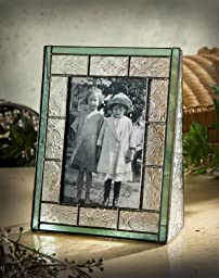 J Devlin Pic 122-46V Stained Glass 4x6 Picture Frame Vertical Portrait Photo Sage Green