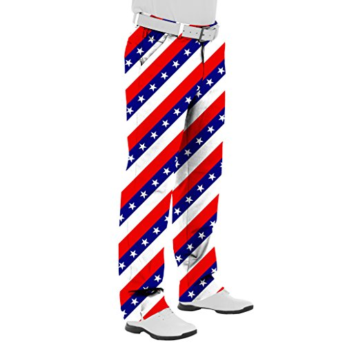 Royal and Awesome Golf Pants (36/32, Pars & Stripes)