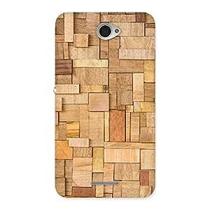Ajay Enterprises Fill Wood Blocks Pattern Back Case Cover for Sony Xperia E4