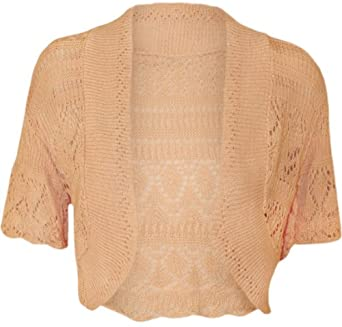 WearAll Women's Crochet Knitted Short Sleeve Bolero - Peach - US 10-12 (UK 14-16)