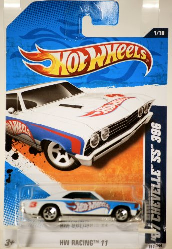 2010 - Mattel - Hot Wheels - HW Racing 11 Series - '67 Chevelle SS 396 - #3 Hot Wheels Decals - White & Blue - 1:64 Scale Die Cast - Rare - Out of Production - Collectible - 1