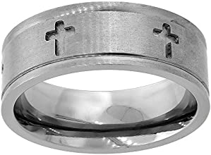 8mm Flat Titanium Wedding Band Carved out Crosses Grooved Edge Ring Comfort Fit sizes 6 to 14