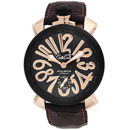 [ガガミラノ]GAGA MILANO 腕時計 マニュアーレ48mm ブラック文字盤 ステンレス(PGPVD)ケース 裏蓋スケルトン スイス製 5014.01S-BRW メンズ 【並行輸入品】