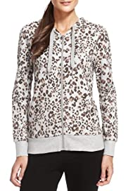 Cotton Rich Zip Through Animal Print Hooded Top [T51-0767-S]
