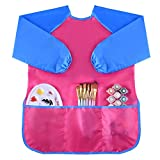 Kuuqa Waterproof Art Smock, Kids Art Aprons Children's Art Smock Long Sleeve with 3 Roomy Pockets , Painting Supplies (Paints and Brushes not included)