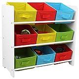 Kinder Aufbewahrungsregal mit 3 Ebenen und 9 Textilschubladen 65x30x60cm Spielzeugregal Kinderregal Standregal mit Boxen Körben Schubladen Spielzeugkiste Spielzeugbox