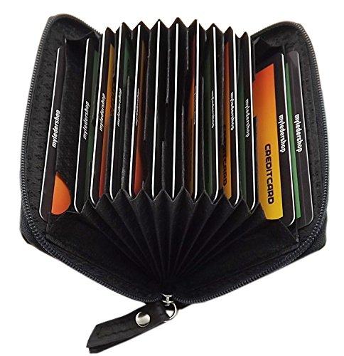 Echt Leder Kredit- und Visitenkartenetui 13 Fächer in 2 Farben (Schwarz)