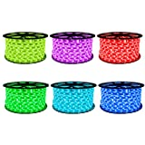 CBconcept 40 Feet RGB Color Changing 120 Volt LED SMD5050 Flexible Flat LED Strip Rope Light - [Christmas Lighting, Indoor/Outdoor Rope Lighting, Ceiling Light] [Dimmable] [Controller is Included] (Color: Rgb Color Changing, Tamaño: 40 Feet)