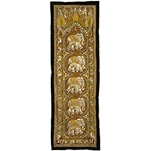 Oriental Furniture Unique and Exotic Wall Art and Decor Gifts, 58-Inch Burmese Five Elephant Oriental Tapestry Wall Hanging