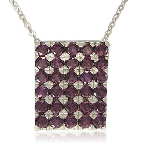 Sterling Silver Rhodolite Garnet Square Shape Pendant Necklace, 18
