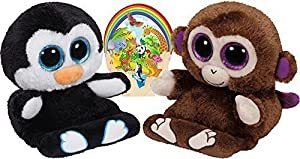Ty Beanie Peek-a-Boos PENNI Penguin and CHIMPS Monkey Set of 2 Smartphone holders with Bonus Animals Sticker from Ty