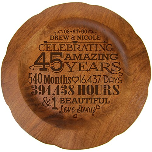 Personalized 45th Wedding Anniversary Plate Gift for Her, Happy 45 Year Anniversary for Him, 12