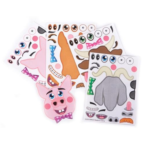 ~ 12 ~ Make-a-Farm / Barnyard Animal Sticker Sheets ~ New ~ Barnyard Animal Stickers - 1