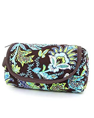 Belvah Quilted Floral Cosmetic Purse (Brown/ Lime)