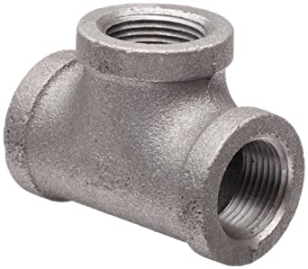 Anvil Malleable Iron Pipe Fitting, Class 150, Tee, NPT Female, Black Finish