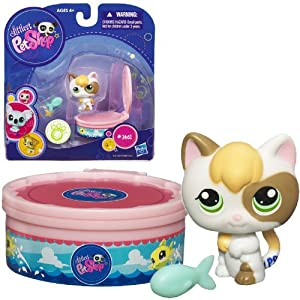 Littlest pet shop 1461 calico kitten with fish and for Little fish toys