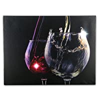 Wine Decor Wall Art with LED Lights Canvas Print Lighted Wine Glasses