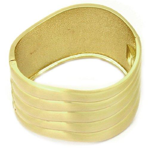 Womens Stylish Metal Gold Tone Irregular Shape Cuff Bangle / Bracelet - Gold