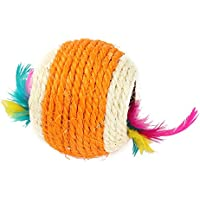 "Cat Sisal Handmade Weave 2.95"" Ball Chewing Rattle Scratch Catch Pet Toy"