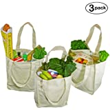 Simple Ecology Organic Cotton Deluxe Grocery Bag with Bottle Sleeves - Natural (3 Pack)