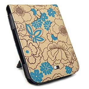 JAVOedge Poppy Flip Case for the Barnes & Noble Nook Simple Touch Reader / with GlowLight (Sky Blue) - Latest Generation