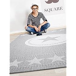 benuta Teppiche: Moderner Designer In- & Outdoor Teppich Essenza Star Grau 120x170 cm - GuT-Siegel - 100% Polypropylen - Sterne - Flachgewebt - Küche