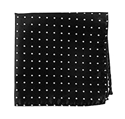 100% Woven Silk Black and White Hot Dots Pocket Square