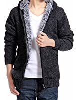 Zicac Winter Cardigan Sweater Lining Zip Hooded Knitted Sweater Jacket Coat For Men And Teenager Boy