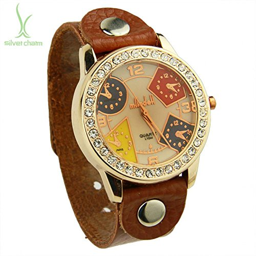 SunShine Day Newest Arrival Vintage Brown Leather Strap Watch For Men With Rhinestone Quartz Top Layer Wristwatch Women Pi0539