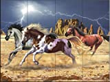 Thunder Horses by Lorenzo Tempesta Tile Mural for Kitchen Backsplash Bathroom Wall Tile Mural