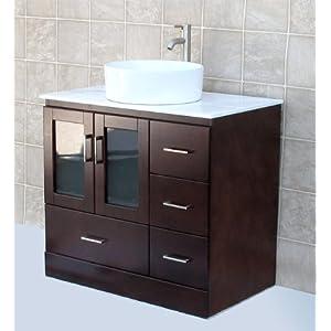 Solid wood 36 bathroom vanity cabinet glass vessel sink for Bathroom cabinets 500