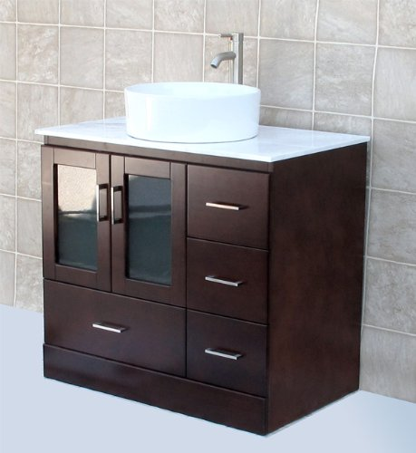 solid wood 36 bathroom vanity cabinet glass vessel sink faucet mc2