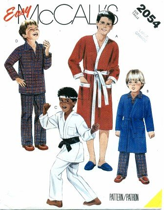 Mccall'S 2054 Sewing Pattern Teens Boys Robe Jacket Pajamas Size 10 - 12 front-957062